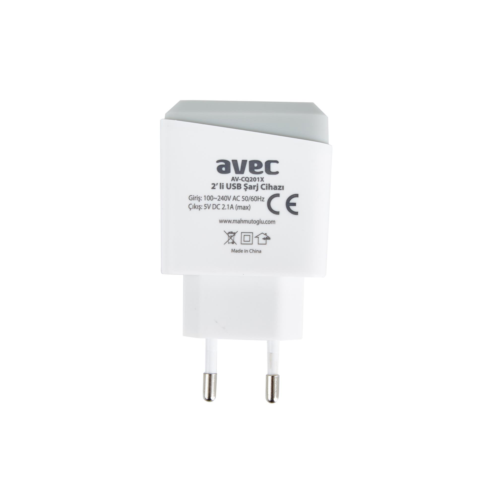 AVEC AV-CQ201X 220V ÇİFTLİ USB ŞARJ CİHAZI