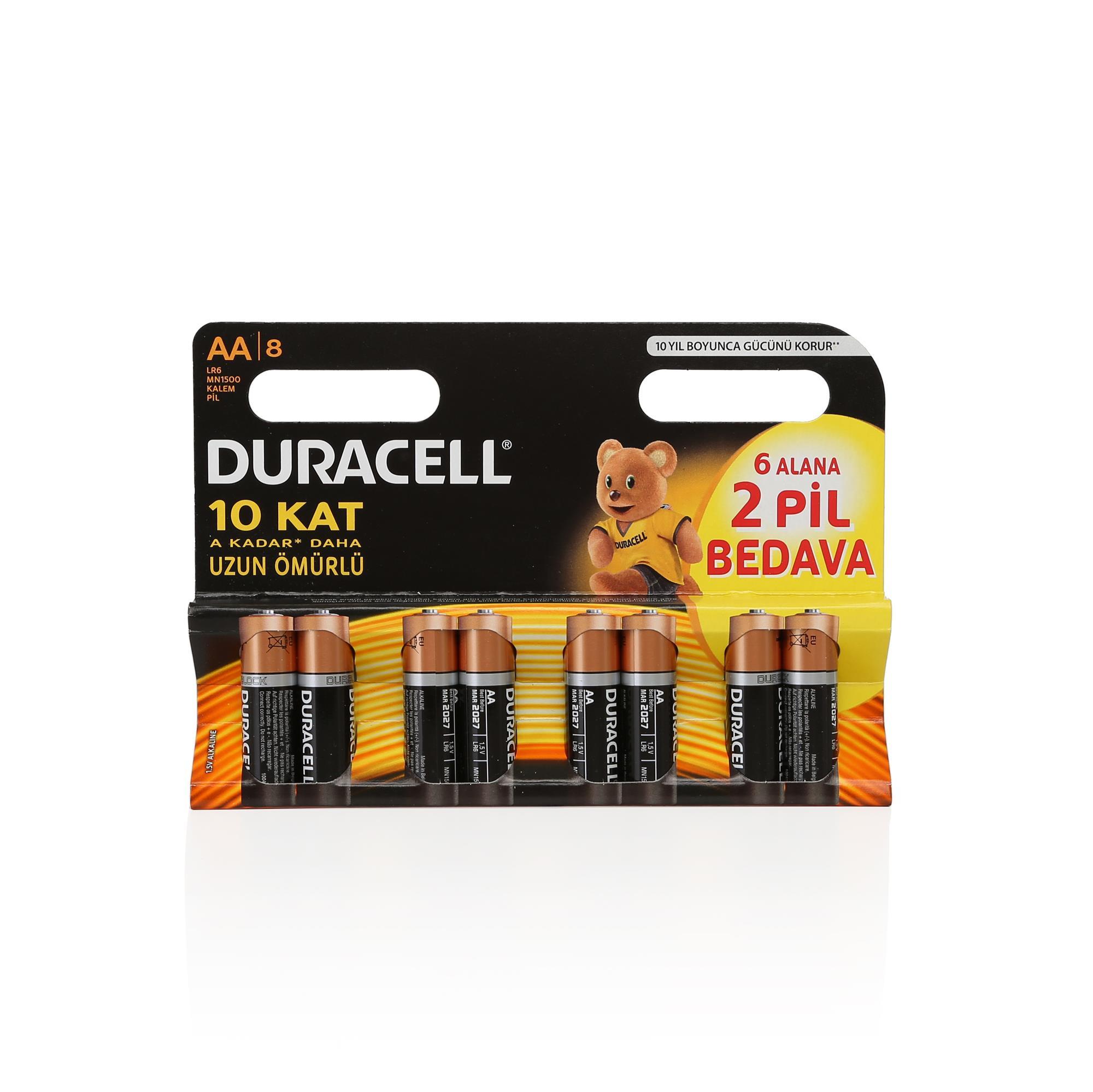 DURACELL AA 6+2 KALEM PİL 8Lİ