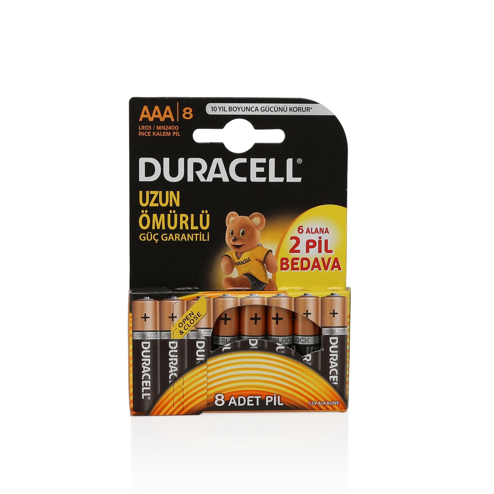 DURACELL AAA 6+2 İNCE PİL 8Lİ