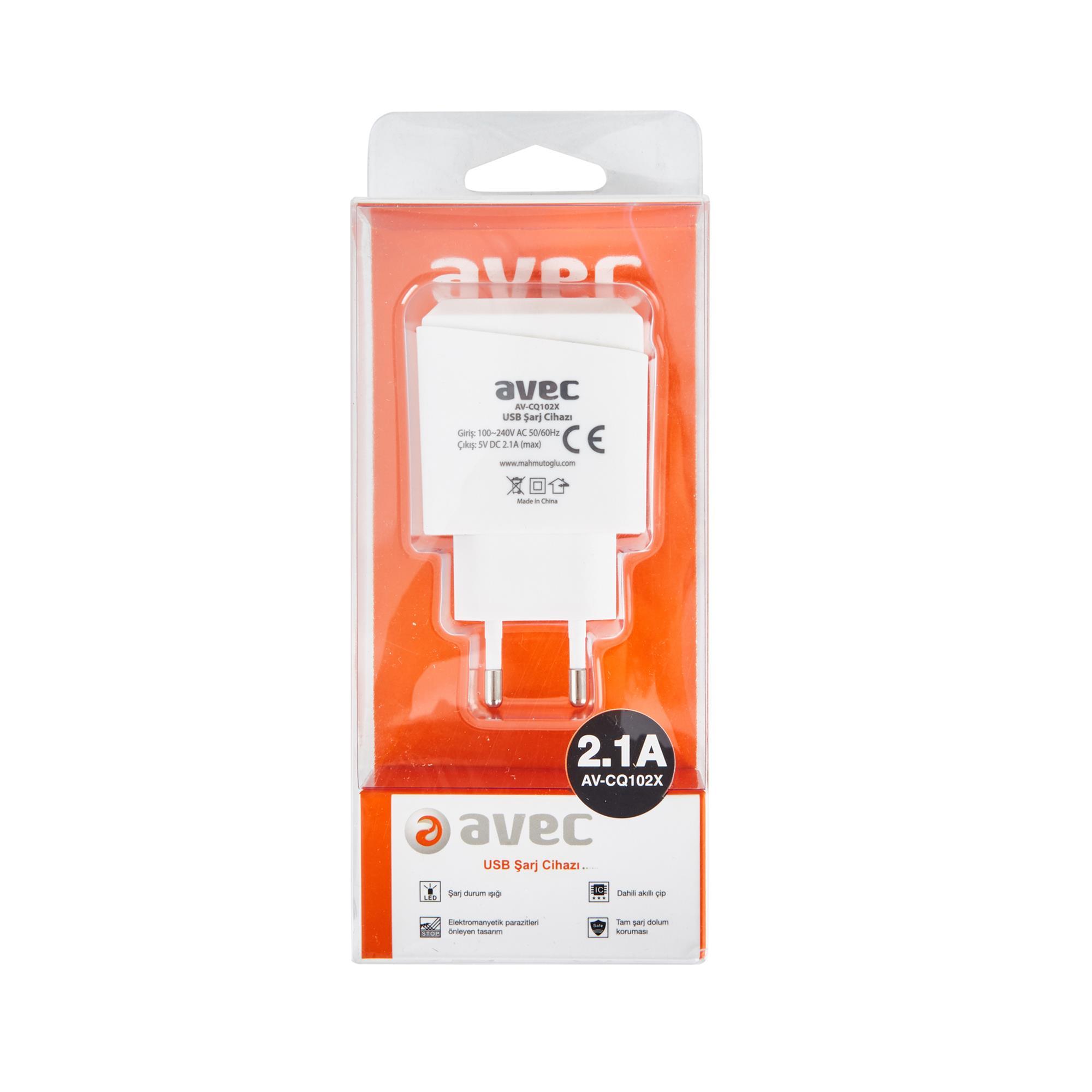 AVEC AV-CQ102X 220V TEKLİ USB ŞARJ CİHAZI