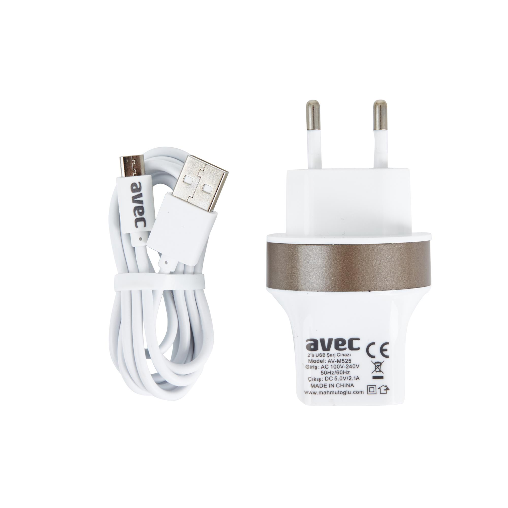AVEC AV-M525 2.1A USB ŞARJ CİHAZI + AV-W101 MİCRO USB KABLO SETİ