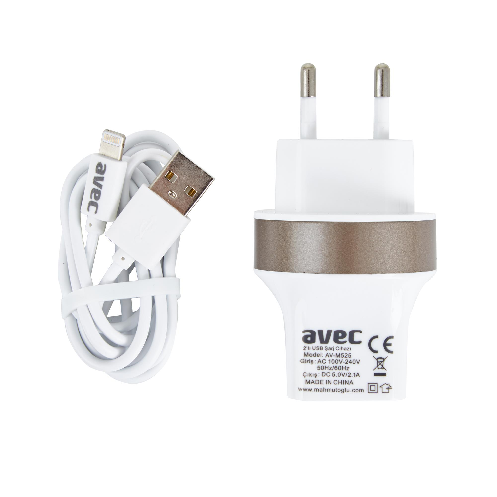 AVEC AV-M525 2.1A USB ŞARJ CİHAZI + AV-W106A IP5/IP6 KABLO SETİ