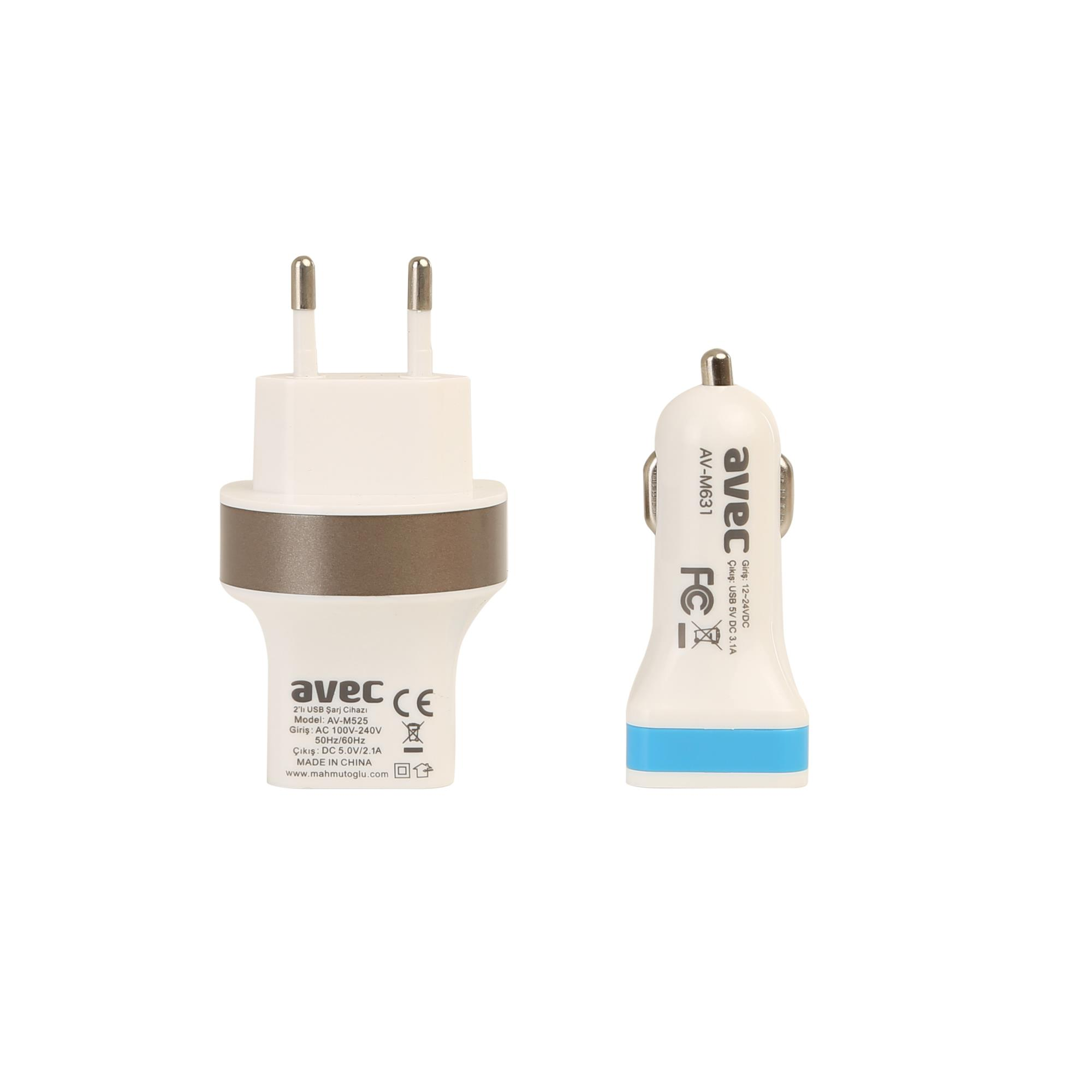 AVEC AV-M525 USB ŞARJ CİHAZI + AV-M631 ARAÇ ŞARJ CİHAZI + AV-W101 MİCRO USB KABLO SETİ