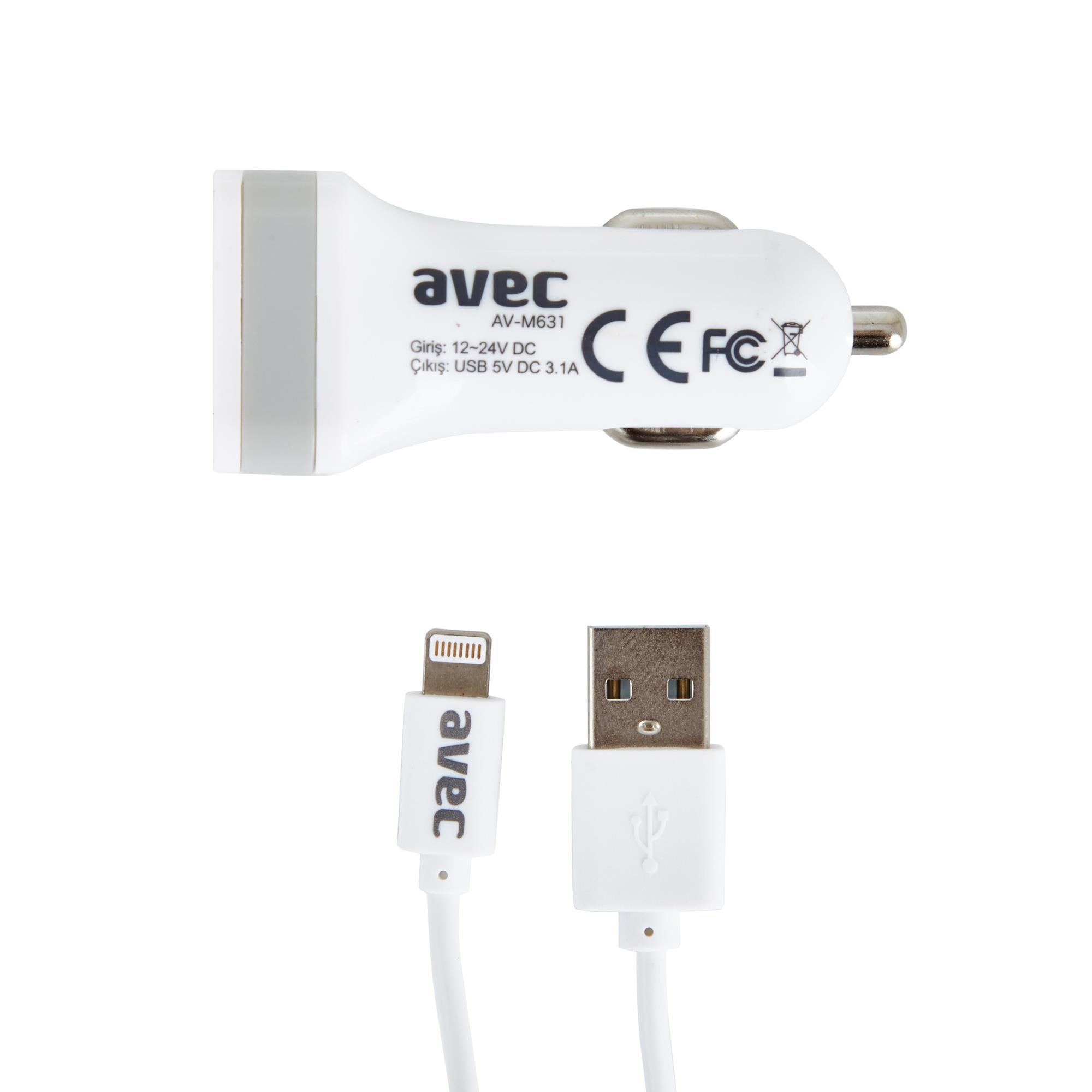 AVEC AV-M631 12V-USB ARAÇ ŞARJ CİHAZI + AV-W106A IP5/IP6 KABLO SETİ