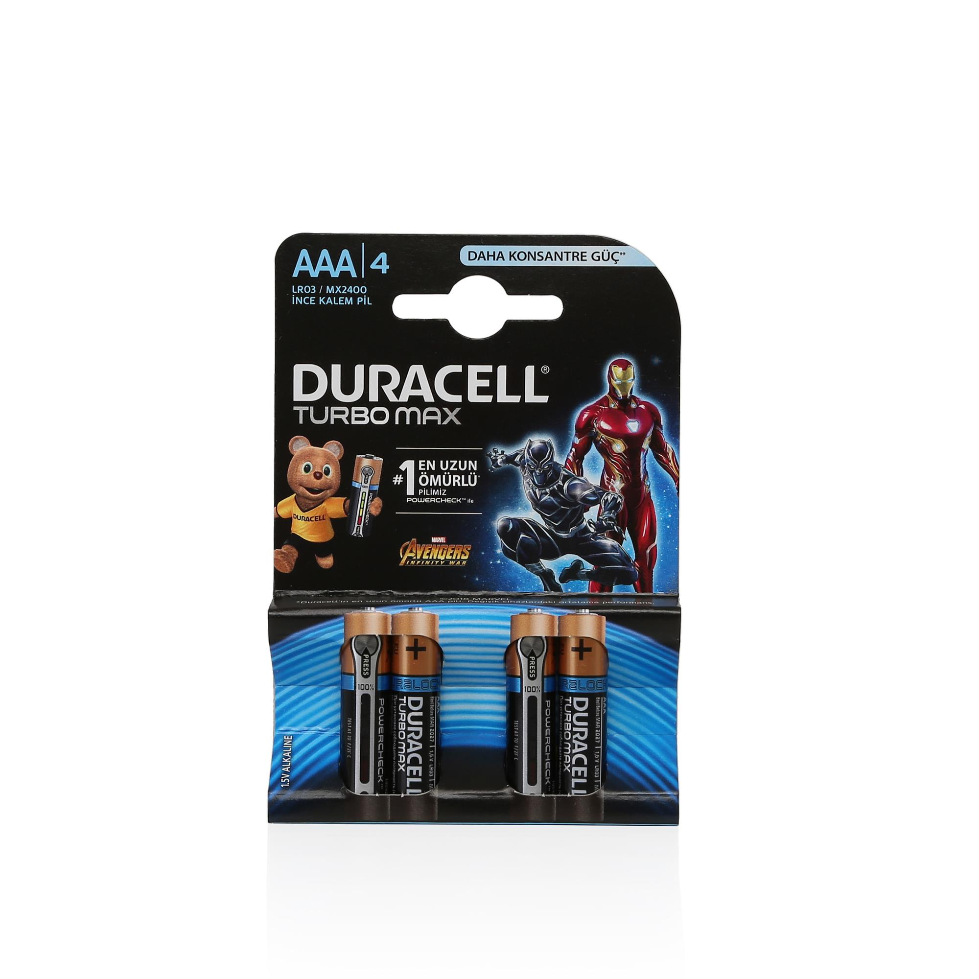 DURACELL TURBO MAX AAA İNCE PİL 4LÜ